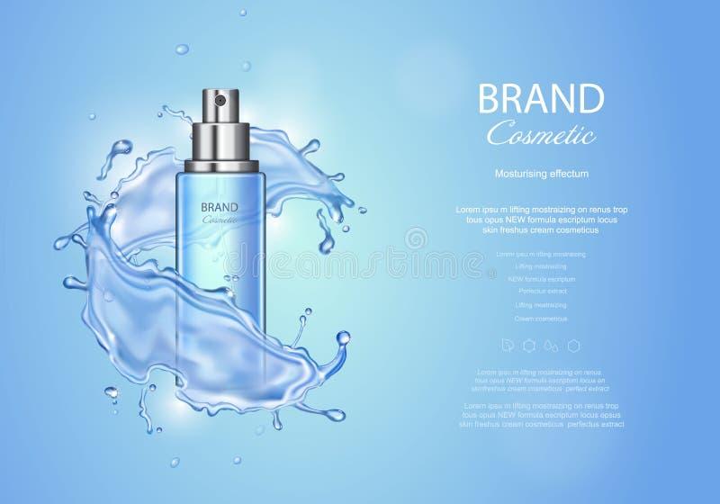Lodowe toner reklamy na błękitnym tle Kiści butelki woda opuszcza elementy, realistyczna kosmetyka produktu wektoru ilustracja ilustracji