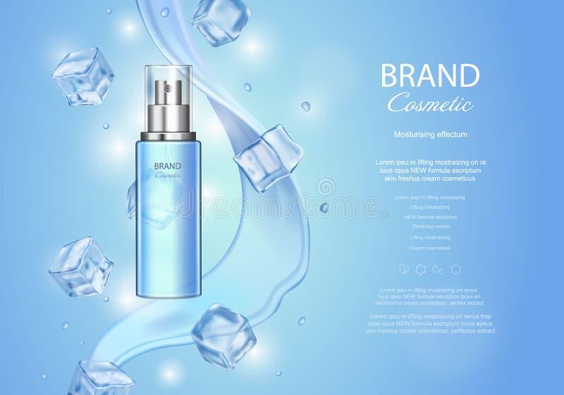 Lodowe toner reklamy z kostkami lodu Błękitna kiści butelka, wodne krople, realistyczny wektorowy illustratio royalty ilustracja