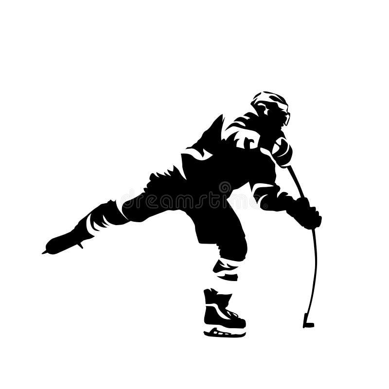 Lodowego gracz w hokeja mknący krążek hokojowy, wektorowa ikona ilustracja wektor