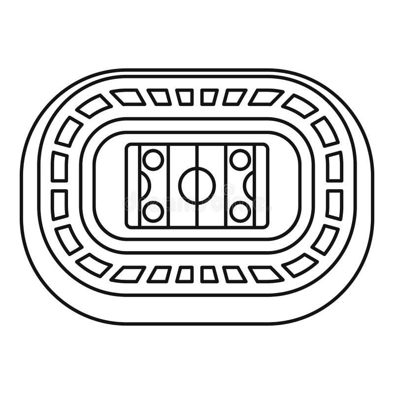 Lodowego hokeja areny ikona, konturu styl ilustracji