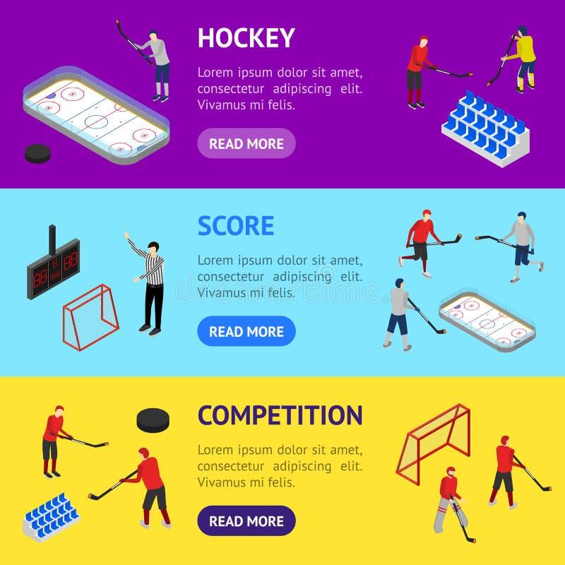 Lodowego hokeja areny Turniejowego sztandaru setu 3d Horyzontalny Isometric widok wektor royalty ilustracja
