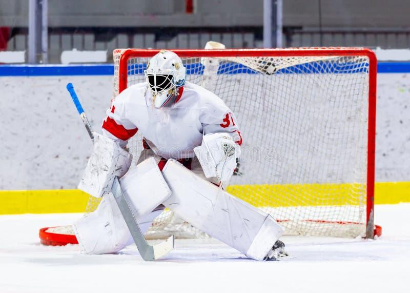 Lodowego hokeja bramkarz podczas gry zdjęcia stock
