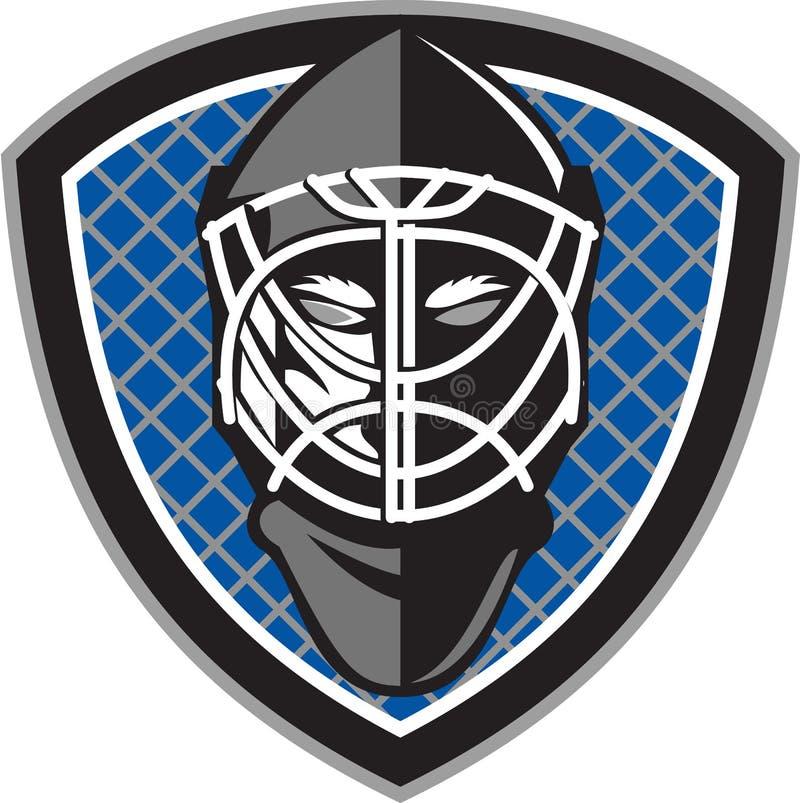 Lodowego hokeja bramkarza hełma grzebień Retro ilustracji