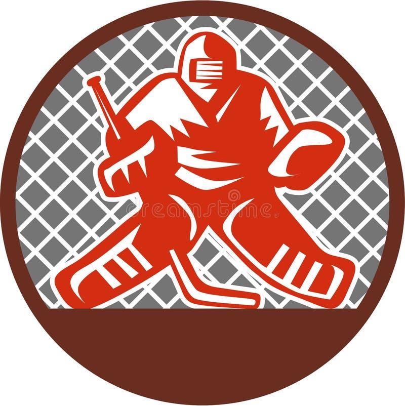 Lodowego hokeja bramkarza okrąg Retro royalty ilustracja