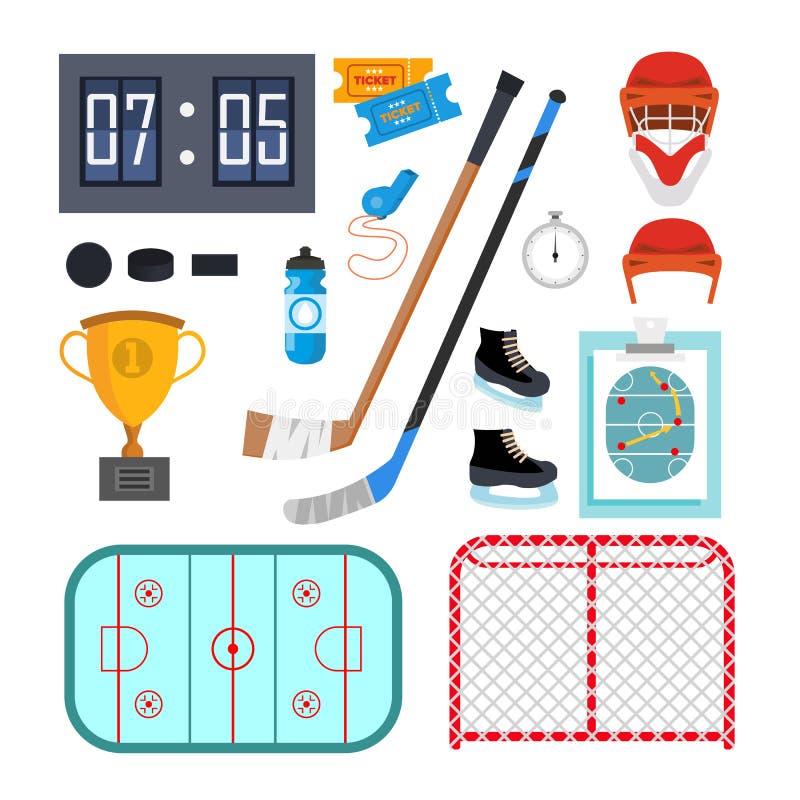 Lodowego hokeja ikona Ustawiający wektor Lodowego hokeja symbole I royalty ilustracja