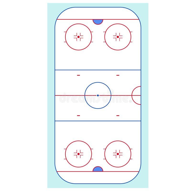Lodowego hokeja lodowiska Odgórny widok wektor ilustracji