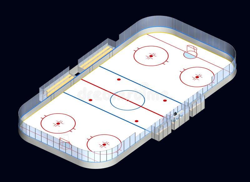 Lodowego hokeja lodowisko 3D isometric ilustracja wektor