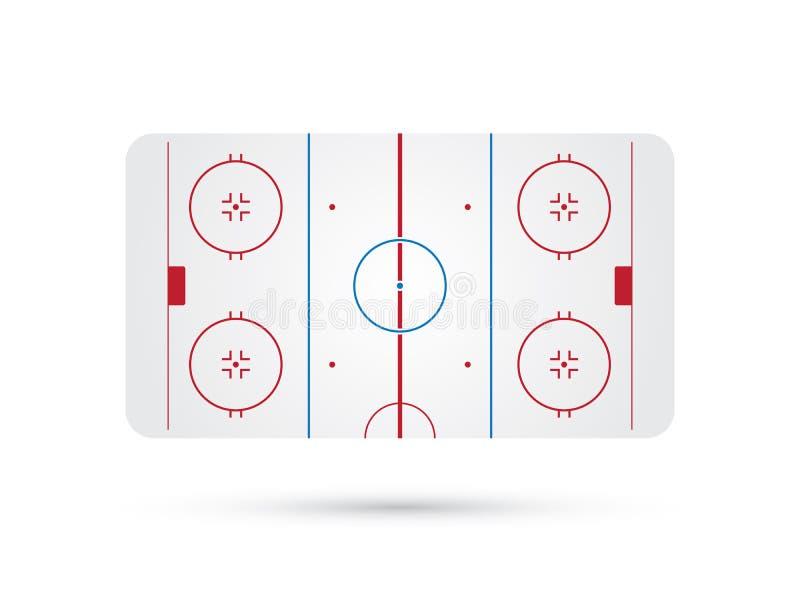 Lodowego hokeja lodowisko z błękitnej czerwieni łyżwy ocenami ilustracji