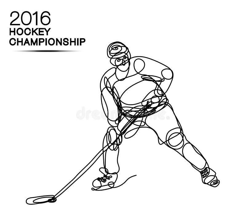 Lodowego hokeja mistrzostwa pojęcia sztuki jeden 2016 kreskowy gracz z neonowym skutkiem lekka mistrz filiżanka ilustracji