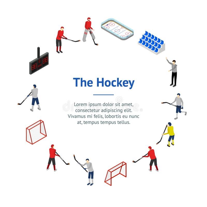 Lodowego hokeja pojęcia sztandaru karty okręgu 3d Turniejowy Isometric widok wektor ilustracji