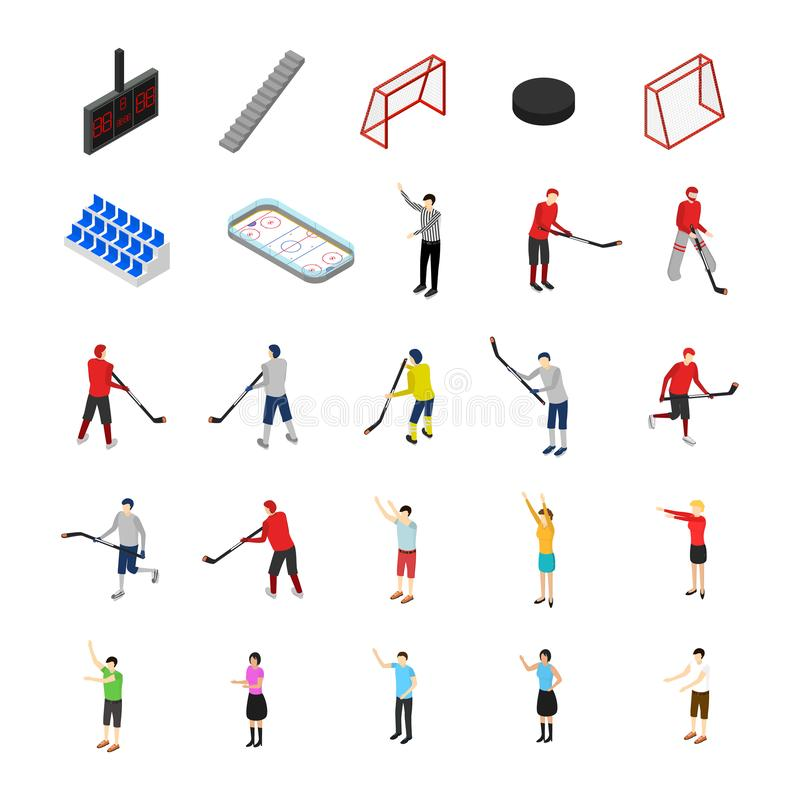 Lodowego hokeja pojęcia Turniejowej ikony Ustalony 3d Isometric widok wektor ilustracja wektor
