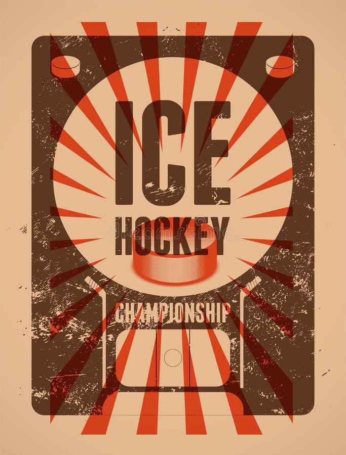 Lodowego hokeja rocznika grunge stylu typographical plakat retro ilustracyjny wektora ilustracji
