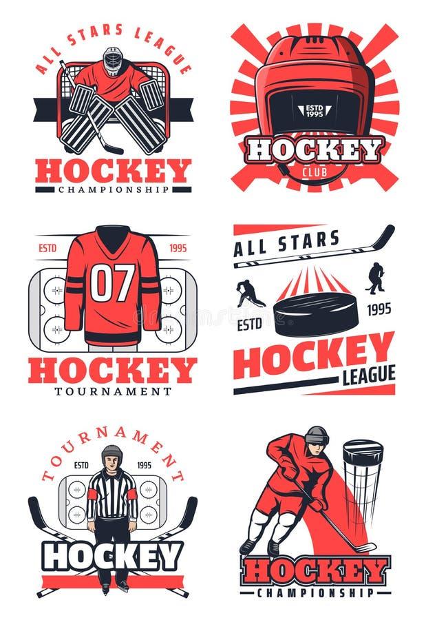 Lodowego hokeja rzeczy i fachowe gracz ikony royalty ilustracja