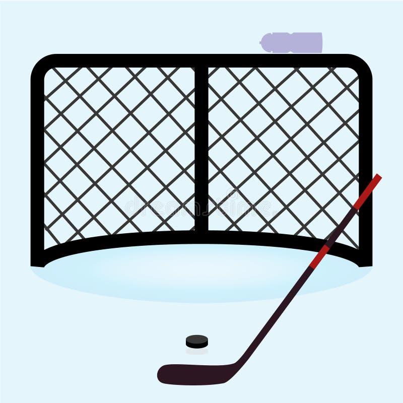 Lodowego hokeja sieci brama z hokejowym kijem eps10 i krążkiem hokojowym ilustracja wektor