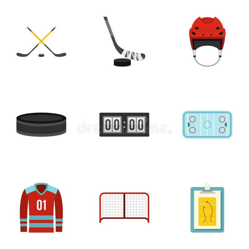 Lodowego hokeja sporta ikony ustawiać, mieszkanie styl royalty ilustracja