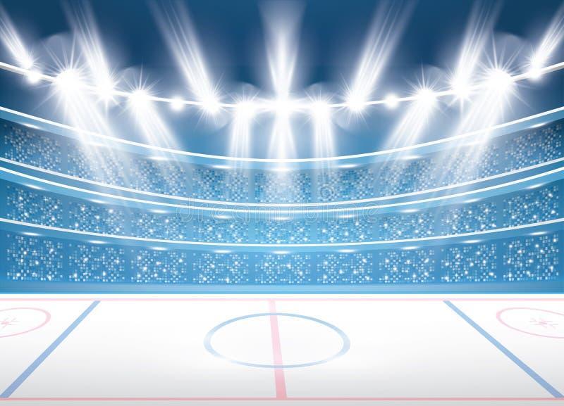 Lodowego hokeja stadium z światłami reflektorów ilustracja wektor