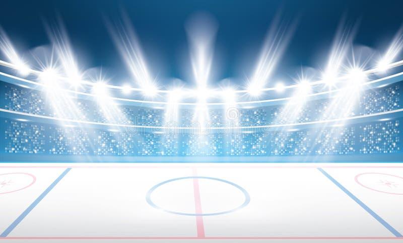 Lodowego hokeja stadium z światłami reflektorów ilustracji