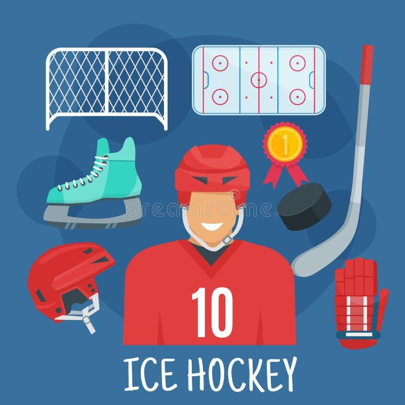 Lodowego hokeja symbol dla zima sportów gier projekta royalty ilustracja