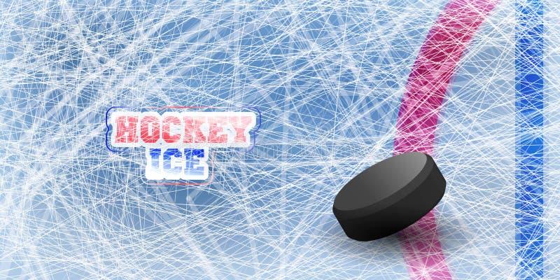 Lodowego hokeja tło z ocenami od łyżwiarstwa i hokeja - Wektorowa ilustracja Tekstury błękita lód Lodowy lodowisko tło płatków śn ilustracji