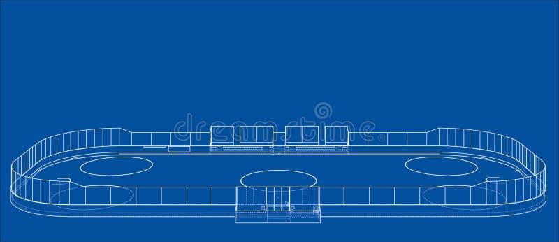 Lodowego hokeja terenu kontur wektor ilustracji