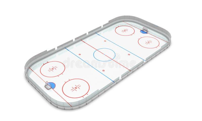 Lodowego hokeja terenu perspektywiczny widok ilustracja wektor