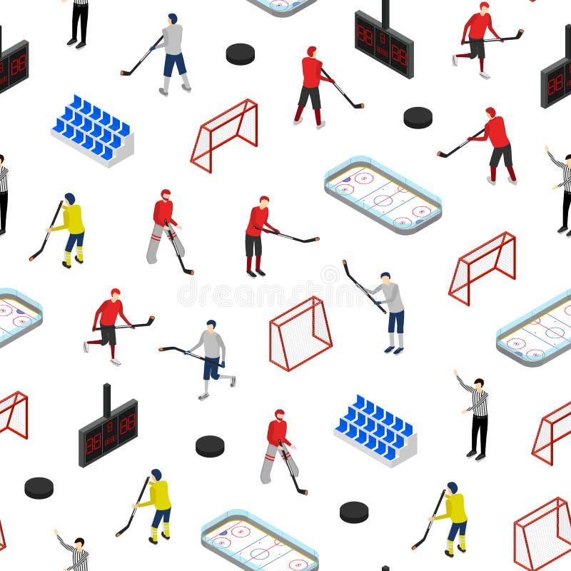 Lodowego hokeja Turniejowego pojęcia tła 3d Bezszwowy Deseniowy Isometric widok wektor ilustracja wektor