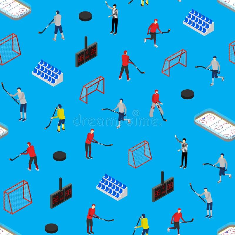 Lodowego hokeja Turniejowego pojęcia tła 3d Bezszwowy Deseniowy Isometric widok wektor ilustracji