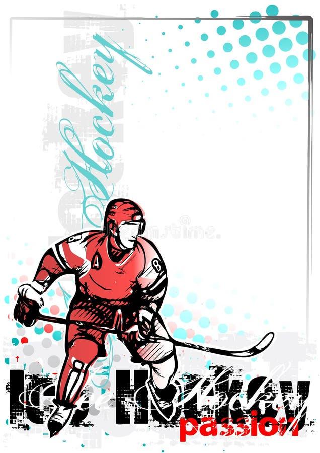 Lodowego hokeja wektorowy plakatowy tło ilustracji