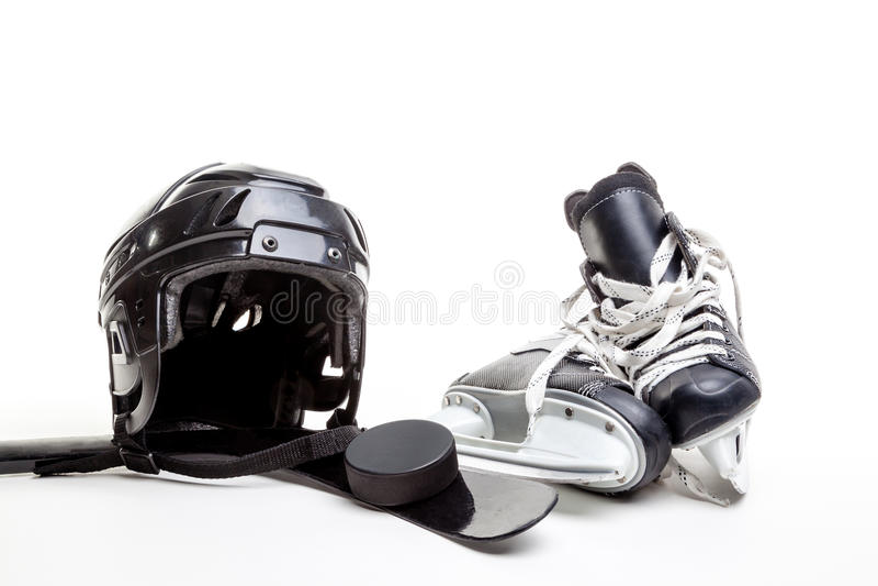Lodowego hokeja wyposażenie Odizolowywający na Białym tle zdjęcia stock