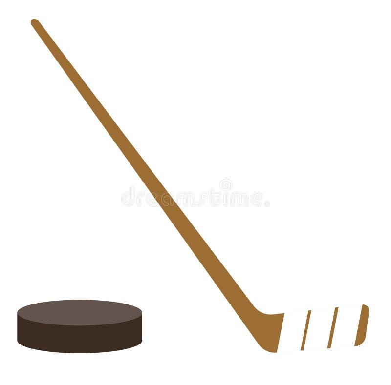 Lodowego hokejowego krążka hokojowego i kija wektoru ilustracja ilustracji