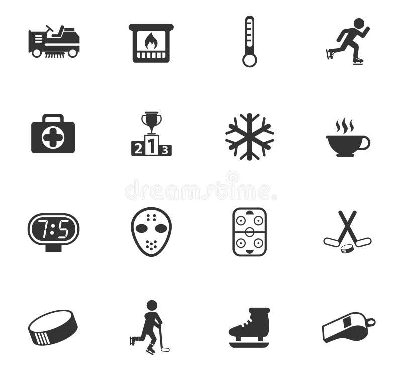 Lodowego lodowiska ikony set ilustracja wektor