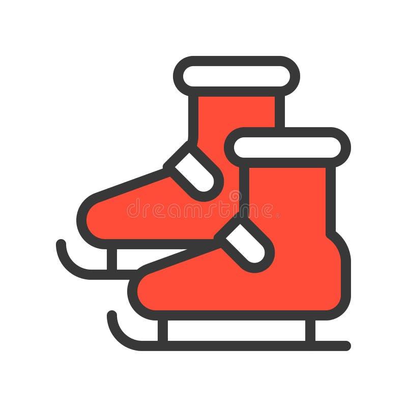 Lodowej łyżwy buty, Wesoło boże narodzenia odnosić sie ikona set, wypełniający outlin ilustracji