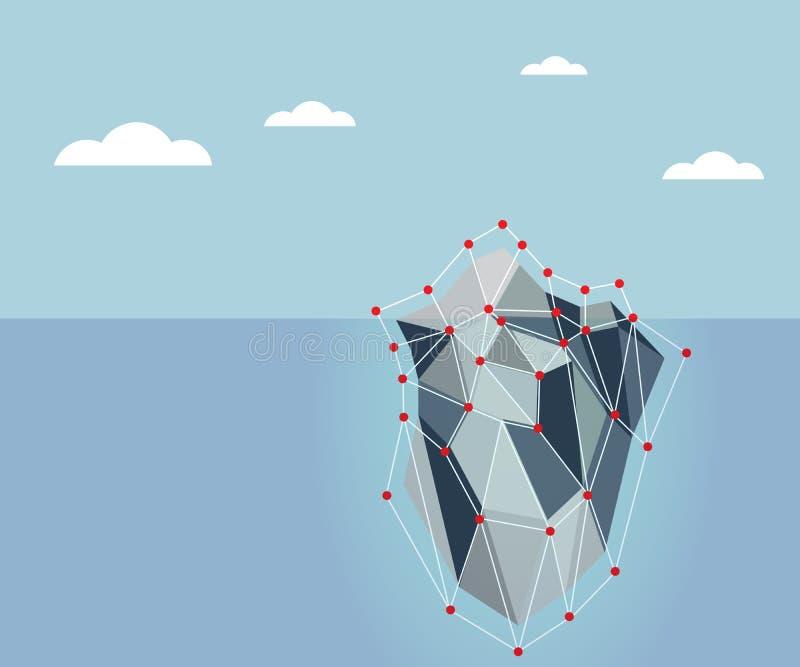 Lodowej góry lodowa wieloboka tło ilustracja wektor