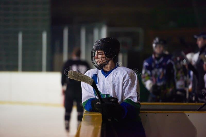 Lodowi gracz w hokeja na ławce obrazy royalty free