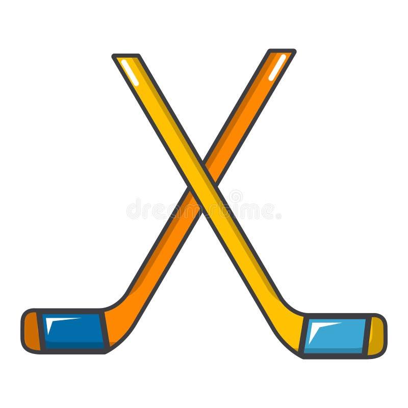 Lodowi hokejowi kije ikona, kreskówka styl ilustracji