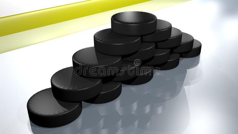 Lodowi hokejowi krążki hokojowi royalty ilustracja