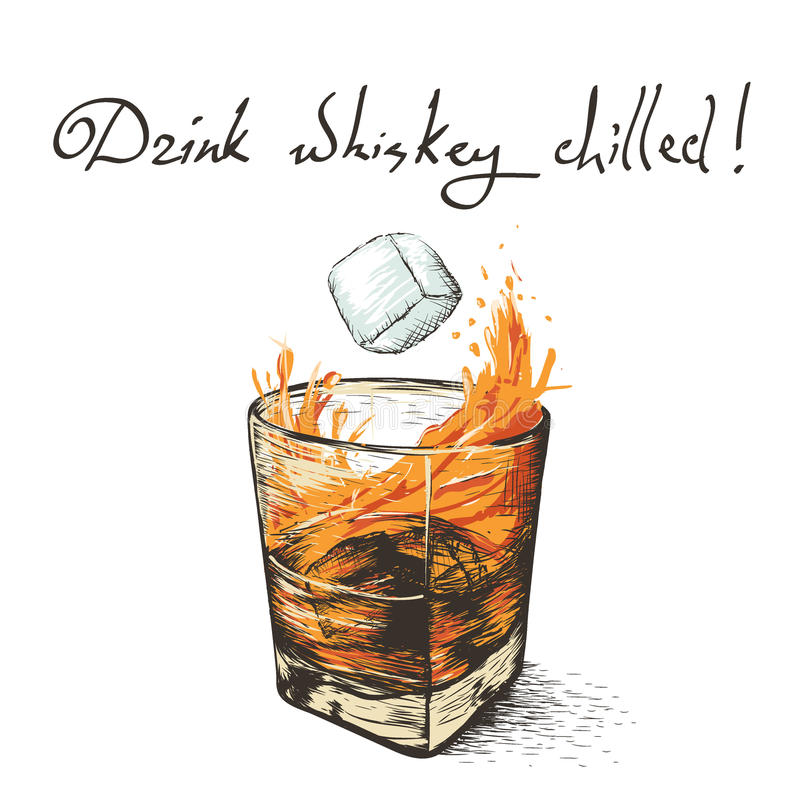 Lodowi spadki w whisky ilustracja wektor