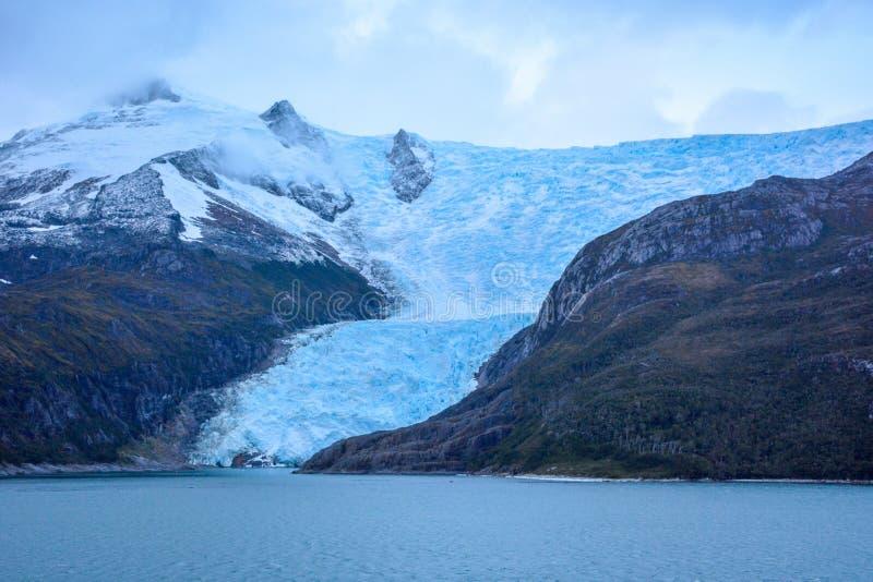 Lodowiec Italia w Tierra Del Fuego, Beagle kanał, Alberto De Agostini park narodowy w Chile obraz stock