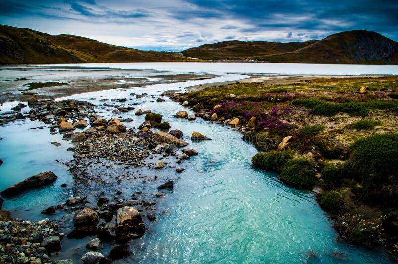 Lodowiec wypływowy jezioro, Greenland zdjęcie royalty free