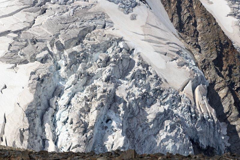 Lodowiec z crevasses przy Grossvenediger, Hohe Tauern Alps, Austria fotografia stock