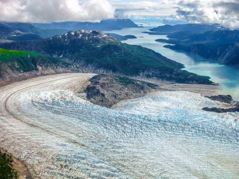 Lodowiec zatoka: dokąd lodowiec spotyka morze obraz royalty free