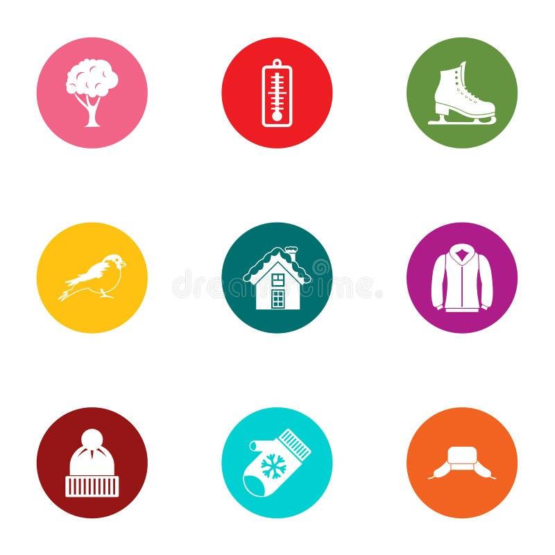 Lodowisko podwyżki ikony ustawiać, mieszkanie styl ilustracji