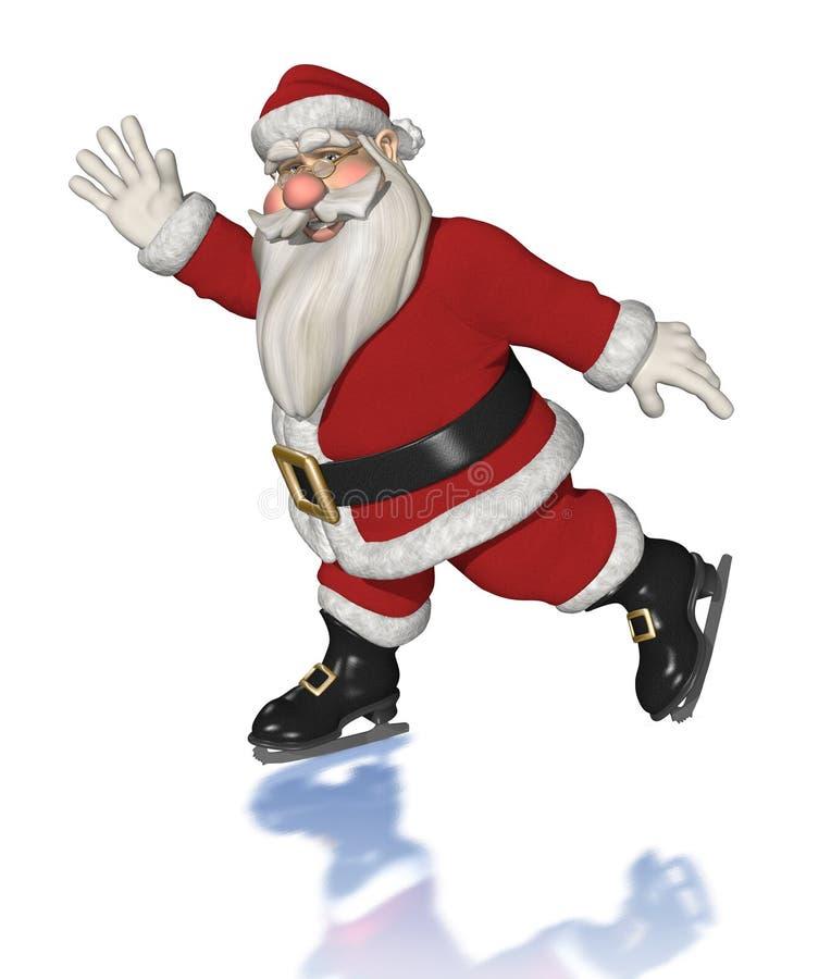 lodowy Claus łyżwiarstwo Santa ilustracji