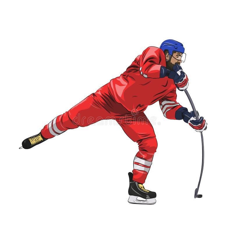 Lodowy gracz w hokeja w czerwonym dżersejowym mknącym krążku hokojowym ilustracja wektor