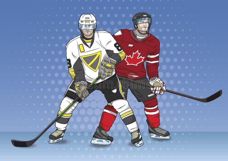 Lodowy gracz w hokeja krajobraz ilustracja wektor