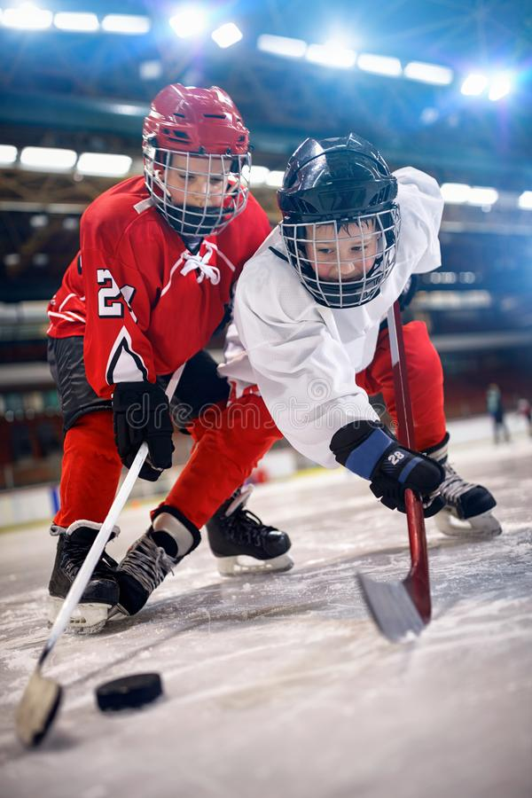 Lodowy gracz w hokeja w sport akci na lodzie fotografia royalty free