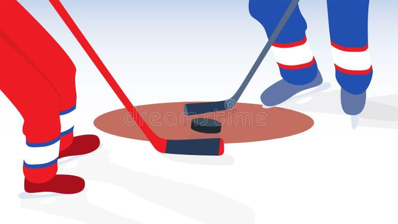 Lodowy gracz w hokeja z kijem i krążkiem hokojowym również zwrócić corel ilustracji wektora ilustracji