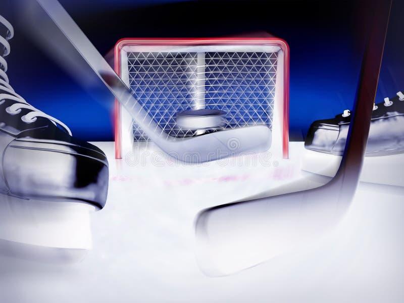 Lodowy hokej Krążek hokojowy lata w cel fotografia royalty free