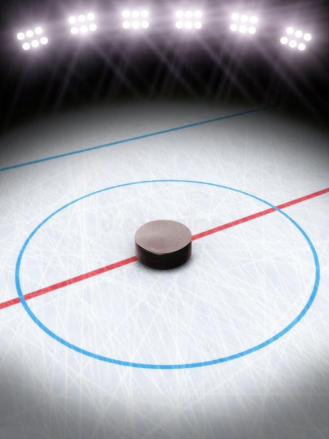 Lodowy hokej pod światłami. ilustracji