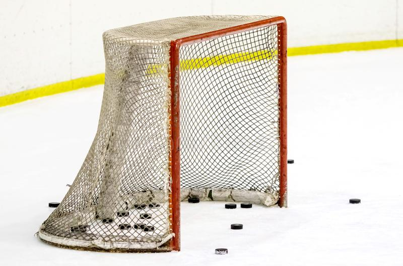 Lodowy hokejowy kij z krążkiem hokojowym zdjęcie royalty free